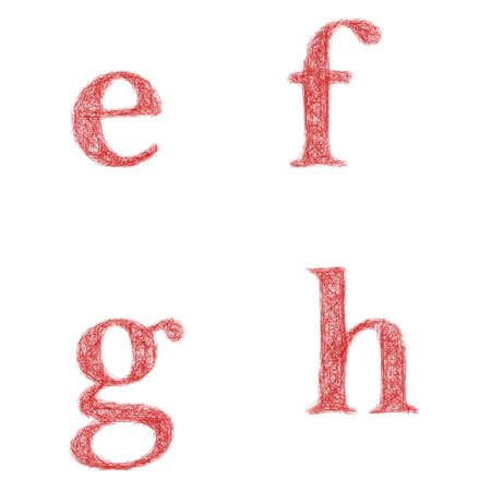 lowercase: Red sketch font design set - lowercase letters e, f, g, h