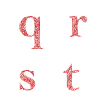 lowercase: Red sketch font design set - lowercase letters q, r, s, t