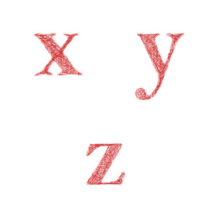lowercase: Red sketch font design set - lowercase letters x, y, z