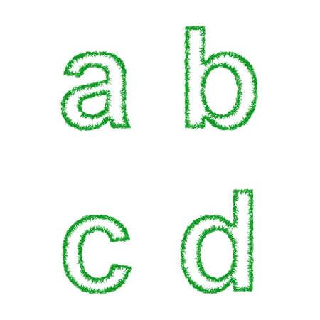 grass font: Green grass font design set - lowercase letters a, b, c, d