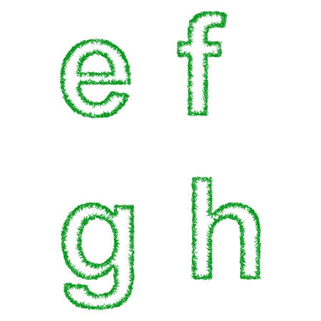 grass font: Green grass font design set - lowercase letters e, f, g, h Illustration