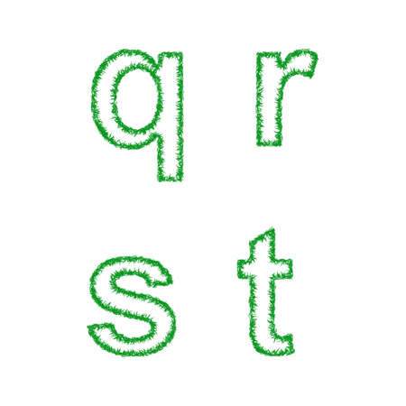 grass font: Green grass font design set - lowercase letters q, r, s, t Illustration