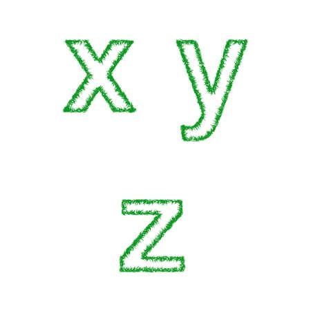 grass font: Green grass font design set - lowercase letters x, y, z Illustration