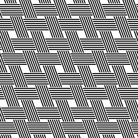 rattan: Seamless black and white diagonal weave pattern design Illustration