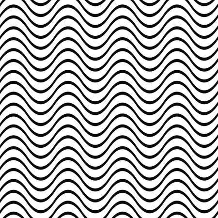 sine wave: Repeating black and white wave line pattern Illustration