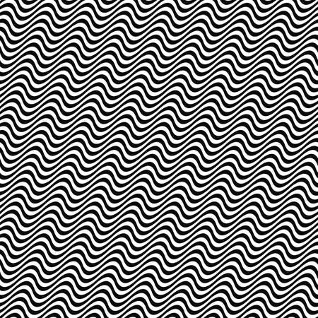 3D repeating black and white angular wave pattern Illustration