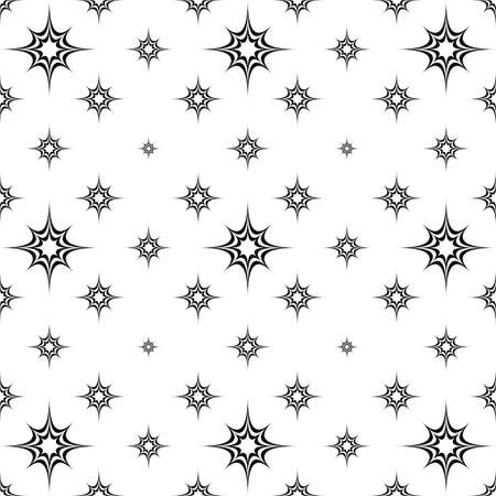star background: Abstract seamless monochrome curved star pattern background