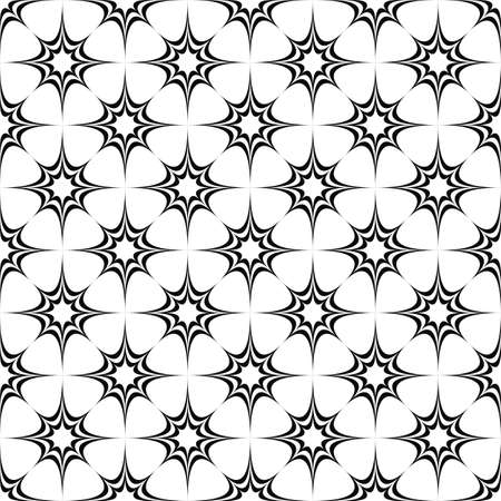 star ornament: Seamless monochrome pattern from concentric curved stars Illustration