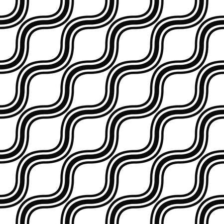 sinuses: Seamless monochrome angular wave line pattern design Illustration