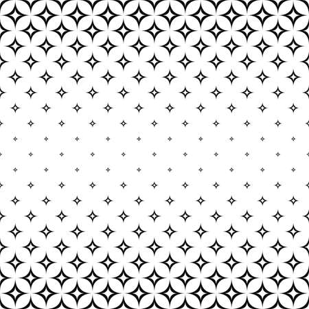 star pattern: Monochrome seamless curved star pattern design vector background
