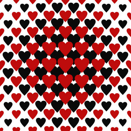 Seamless red and black heart pattern background Illustration