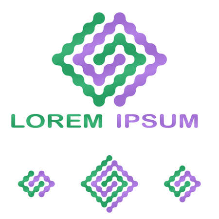 green purple: Green purple science, technology company symbol design set