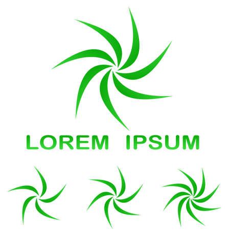 swirling: Green swirling enviroment logo symbol design set Illustration