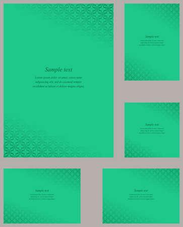 corner ornament: Turquoise page corner ornament design template set