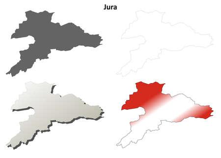 jura: Jura canton blank detailed outline map set