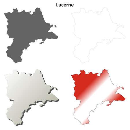 Lucerne canton blank detailed outline map set Illustration