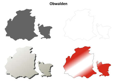 canton: Obwalden canton blank detailed outline map set