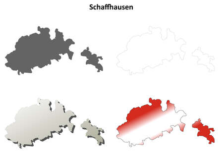 swiss alps: Schaffhausen canton blank detailed outline map set