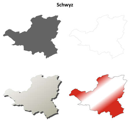 canton: Schwyz canton blank detailed outline map set