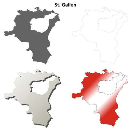 st gallen: St. Gallen canton blank detailed outline map set Illustration
