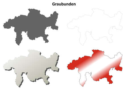 canton: Graubunden canton blank detailed outline map set Illustration