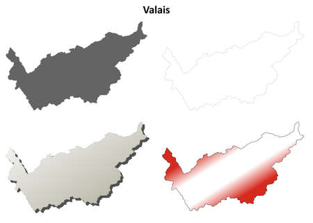 canton: Valais canton blank detailed outline map set