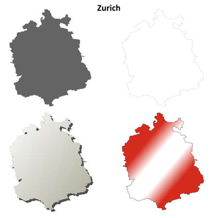 canton: Zurich canton blank detailed outline map set