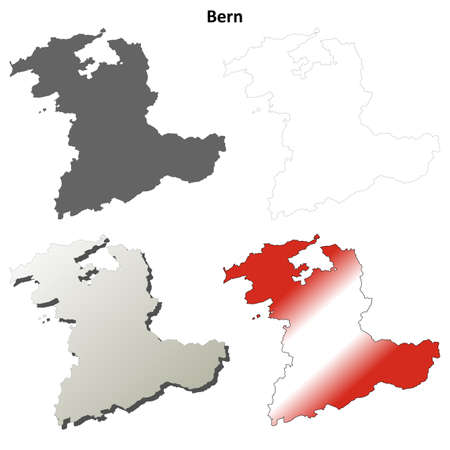 canton: Bern canton blank detailed outline map set