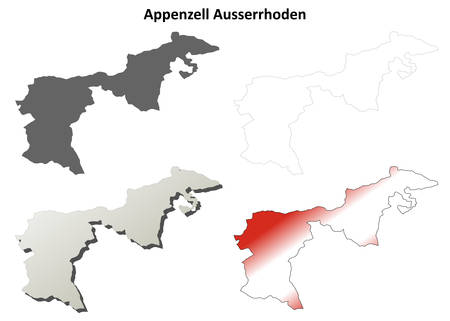 canton: Appenzell Ausserrhoden canton blank detailed outline map set Illustration