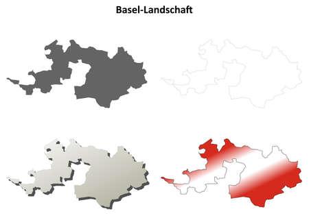 bale: Basel-Landschaft canton blank detailed outline map set