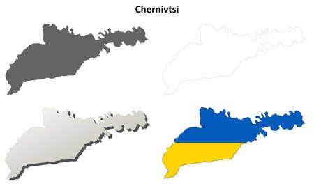 oblast: Chernivtsi oblast blank detailed outline map set Illustration