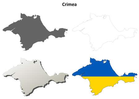 crimea: Crimea blank outline map set - Ukrainian version Illustration