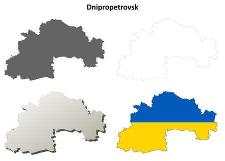 oblast: Dnipropetrovsk oblast blank detailed outline map set