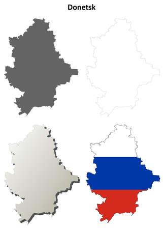oblast: Donetsk oblast blank detailed outline map set - Russian version