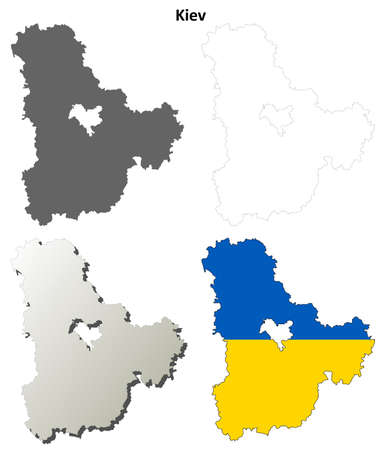 oblast: Kiev oblast blank detailed outline map set