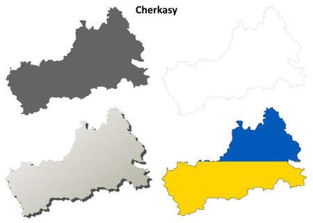 oblast: Cherkasy oblast blank detailed outline map set Illustration