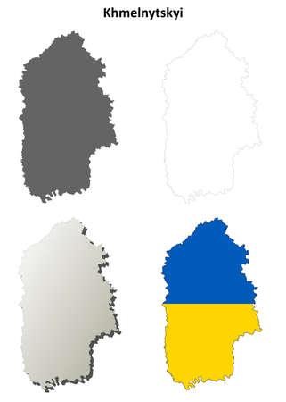 oblast: Khmelnytskyi oblast blank detailed outline map set