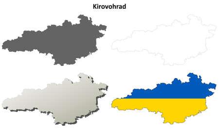 oblast: Kirovohrad oblast blank detailed outline map set