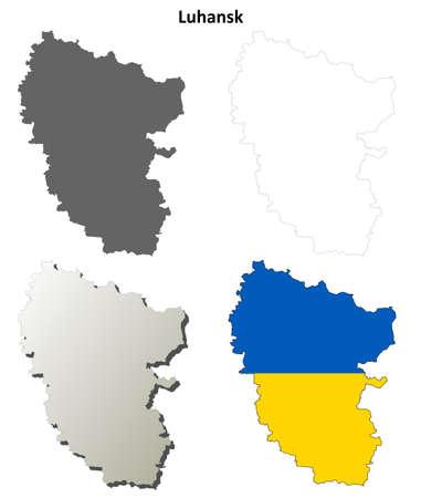 luhansk: Luhansk oblast blank detailed outline map set - Ukrainian version Illustration