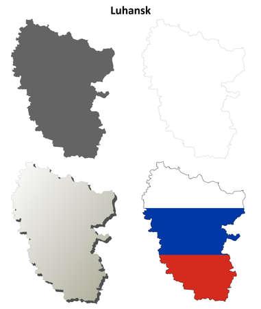 donetsk: Donetsk oblast blank detailed outline map set - Russian version