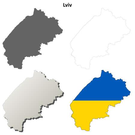 oblast: Lviv oblast blank detailed outline map set