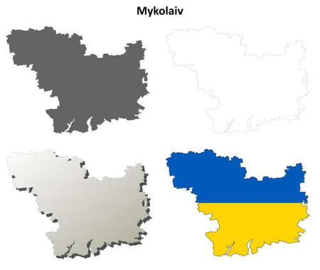 oblast: Mykolaiv oblast blank detailed outline map set Illustration