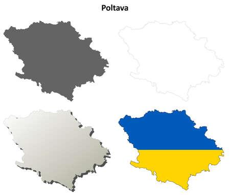 oblast: Poltava oblast blank detailed outline map set