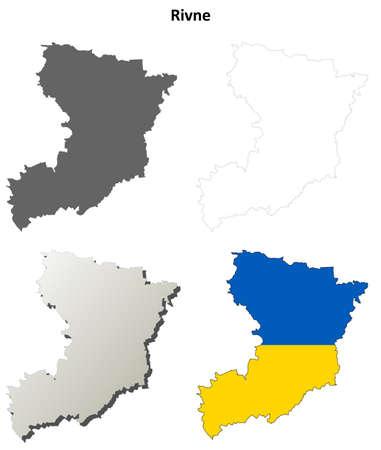oblast: Rivne oblast blank detailed outline map set