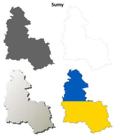 oblast: Sumy oblast blank detailed outline map set Illustration
