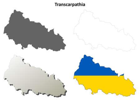 oblast: Transcarpathia oblast blank detailed outline map set - Ukrainian version