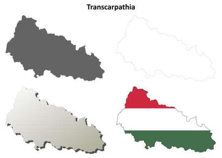 hungarian: Transcarpathia blank detailed outline map set - Hungarian version Illustration
