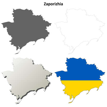 oblast: Zaporizhia oblast blank detailed outline map set