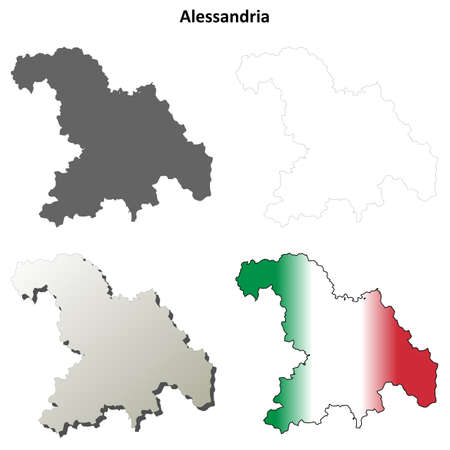 Alessandria province blank detailed outline map set