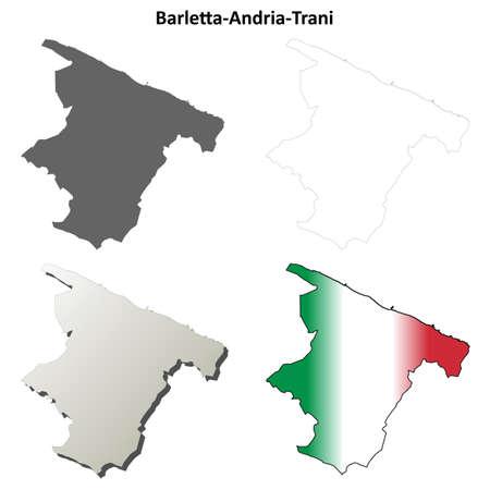 Barletta-Andria-Trani province blank detailed outline map set